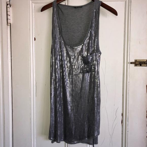 6582a290 Dkny Tops | Silver Sequin Tunic Or Mini Dress Large | Poshmark